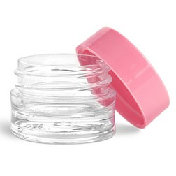 Lip Balm Pot, 1/8oz Pink Lids
