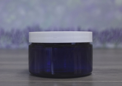 Jar, PET Blue, 4oz + Smooth White Lid (70/400)