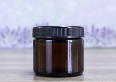 Cosmetic Jar, Glass Amber 2oz w/black lid (53/400)