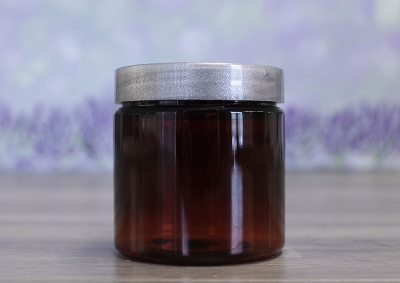 Jar, PET Amber, 4oz Deep + Smooth Silver (58/400)
