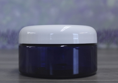 Jar, PET Blue, 8oz + Dome White Lid (89/400)