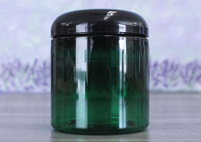 Jar, PET Green, 8oz Deep + Dome Black Lid (70/400)