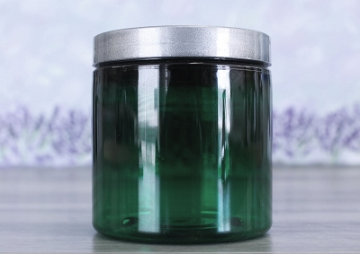 Jar, PET Green, 8oz Deep + Smooth Silver Lid (70/400)