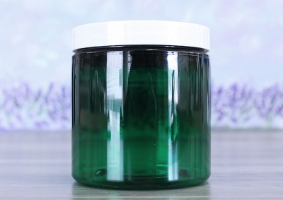Jar, PET Green, 8oz Deep + Smooth White Lid (70/400)