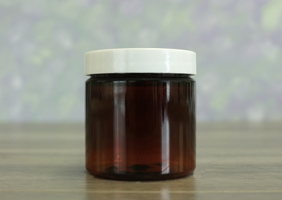Jar, PET Amber, 4oz Deep + Smooth White (58/400)