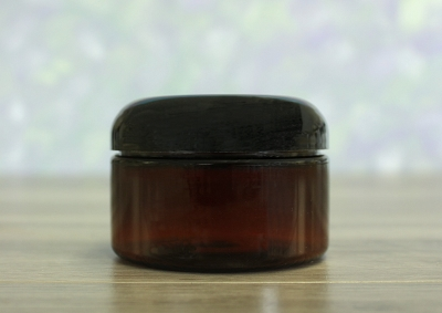 Jar, PET Amber, 4oz Wide + Dome Black Lid (70/400)
