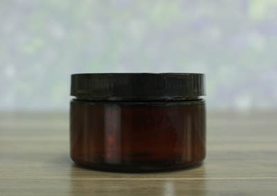 Jar, PET Amber, 4oz Wide + Smooth Black Lid (70/400)