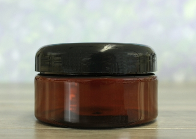 Jar, PET Amber, 8oz + Dome Black Lid (89/400)