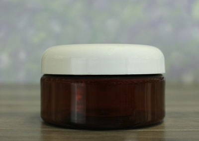 Jar, PET Amber, 8oz + Dome White Lid (89/400)