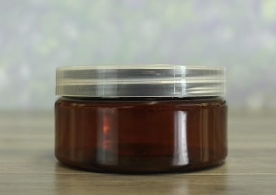 Jar, PET Amber, 8oz + Smooth Natural Lid (89/400)