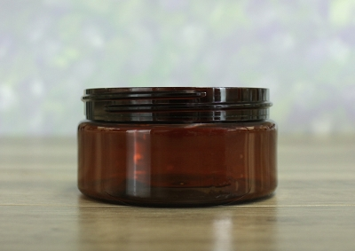 Jar, PET Amber, 8oz  Wide + No Lid