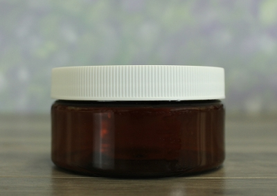 Jar, PET Amber, 8oz + Ribbed White Lid (89/400)