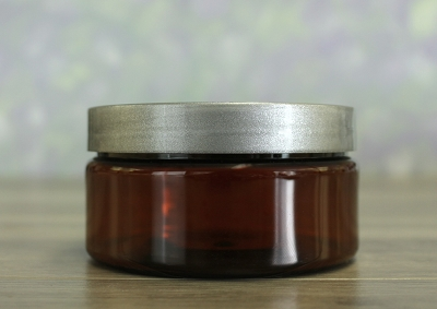 Jar, PET Amber, 8oz + Smooth Silver Lid (89/400)