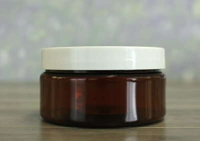 Jar, PET Amber, 8oz + Smooth White (89/400)