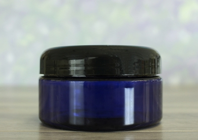 Jar, PET Blue, 8oz + Dome Black Lid (89/400)