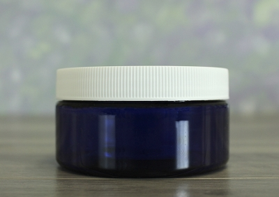 Jar, PET Blue, 8oz + Ribbed White Lid (89/400)