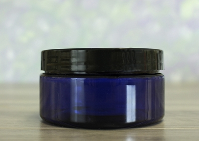 Jar, PET Blue, 8oz + Smooth Black Lid (89/400)