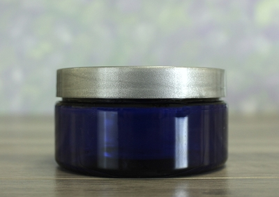 Jar, PET Blue, 8oz + Smooth Silver Lid (89/400)