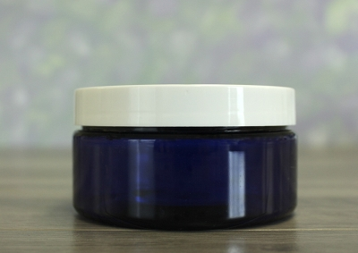 Jar, PET Blue, 8oz + Smooth PS Lined White Lid (89/400)