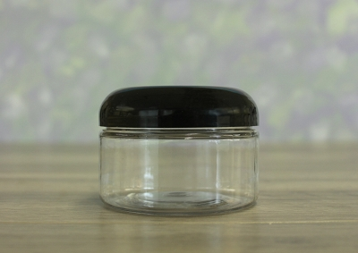 Jar, PET Clear 4oz Wide + Dome Black (70/400)