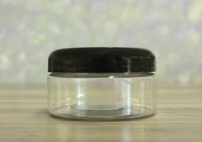 Jar, PET Clear, 8oz + Dome Black Lid (89/400)