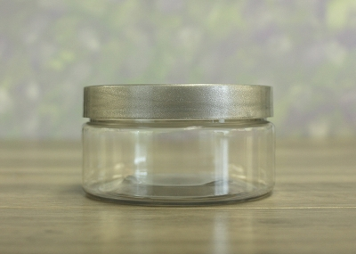 Jar, PET Clear, 8oz + Smooth Silver (89/400)