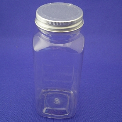 Bottle PET, Square 8oz w/Alum lid