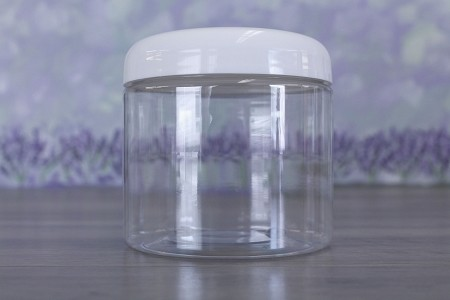 Jar, PET Clear, 16oz + Dome White Lid (89/400)