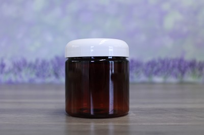 Jar, PET Amber, 4oz Deep + Dome White Lid (58/400)