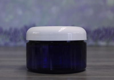 Jar, PET Blue, 4oz + Dome White Lid
