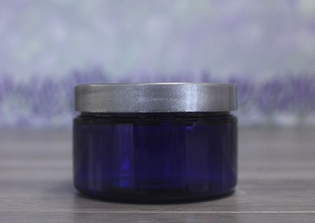 Jar, PET Blue, 4oz + Smooth Silver Lid (70/400)