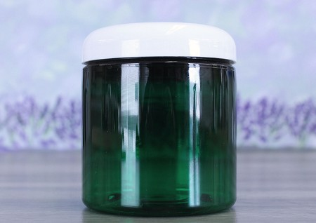 Jar, PET Green, 8oz Deep + Dome White (70/400)