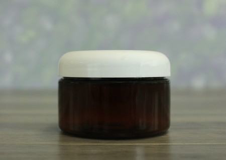 Jar, PET Amber, 4oz Wide + Dome White Lid (70/400)