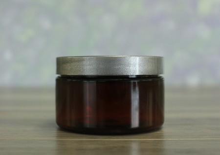 Jar, PET Amber, 4oz Wide + Smooth Silver Lid (70/400)