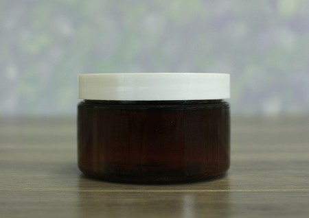 Jar, PET Amber, 4oz Wide + Smooth White Lid (70/400)