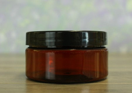 Jar, PET Amber, 8oz Wide+ Smooth PS Lined Black (89/400)
