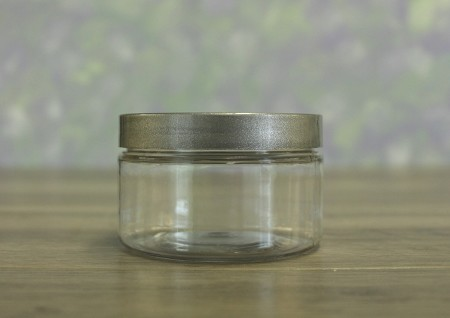 Jar, PET Clear 4oz Wide + Smooth Silver (70/400)