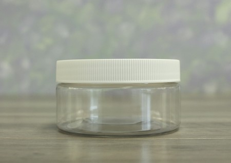 Jar, PET Clear, 8oz + Ribbed White Lid (89/400)