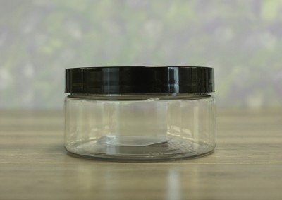 Jar, PET Clear, 8oz + Smooth Black (89/400)