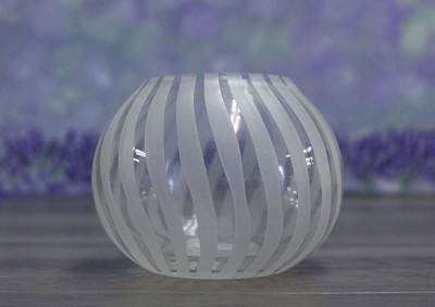 Tealight Holder, Swirl Clear